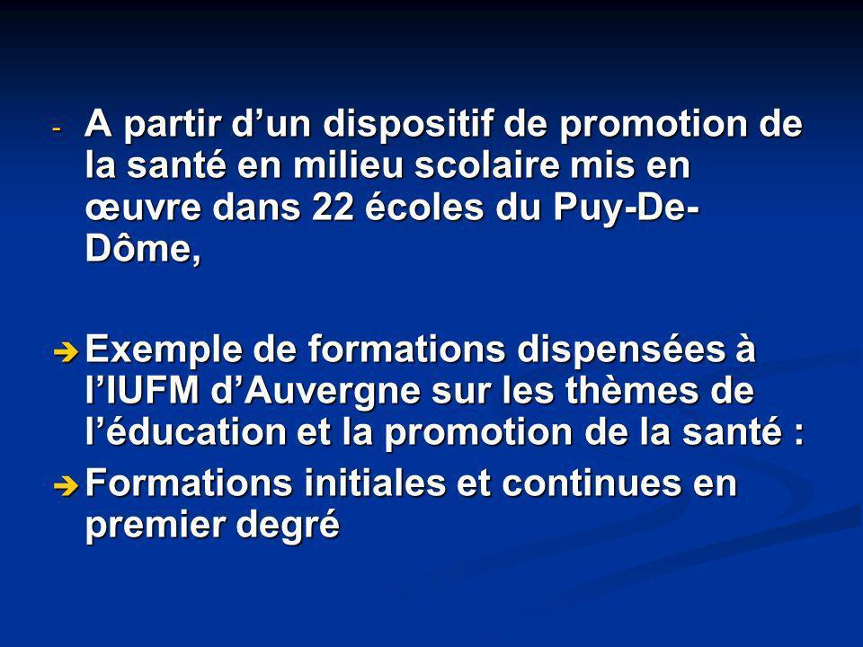 - A partir dun dispositif de promotion de la santé en milieu scolaire mis en œuvre dans 22 écoles du Puy-De- Dôme, Exemple de formations dispensées à