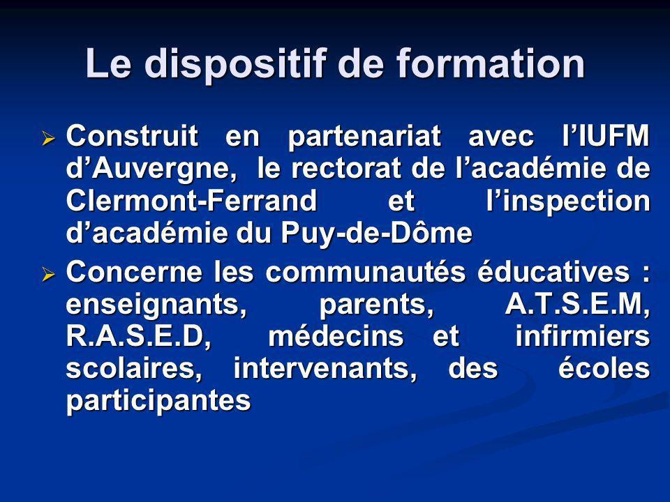 Le dispositif de formation Construit en partenariat avec lIUFM dAuvergne, le rectorat de lacadémie de Clermont-Ferrand et linspection dacadémie du Puy
