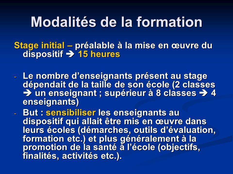 Modalités de la formation Stage initial – préalable à la mise en œuvre du dispositif 15 heures - Le nombre denseignants présent au stage dépendait de
