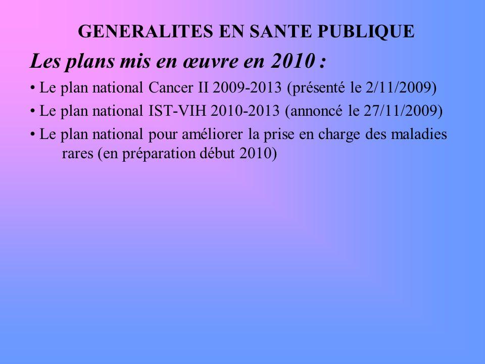 GENERALITES EN SANTE PUBLIQUE Les plans mis en œuvre en 2010 : Le plan national Cancer II 2009-2013 (présenté le 2/11/2009) Le plan national IST-VIH 2