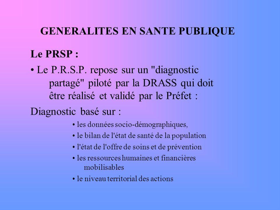 GENERALITES EN SANTE PUBLIQUE Le PRSP : Le P.R.S.P. repose sur un