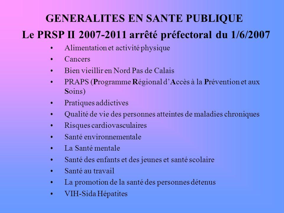 GENERALITES EN SANTE PUBLIQUE Le PRSP II 2007-2011 arrêté préfectoral du 1/6/2007 Alimentation et activité physique Cancers Bien vieillir en Nord Pas