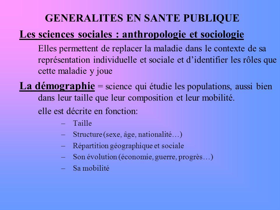 GENERALITES EN SANTE PUBLIQUE Les sciences sociales : anthropologie et sociologie Elles permettent de replacer la maladie dans le contexte de sa repré