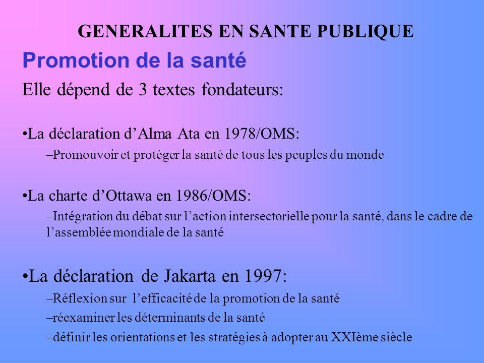 GENERALITES EN SANTE PUBLIQUE Promotion de la santé Elle dépend de 3 textes fondateurs: La déclaration dAlma Ata en 1978/OMS: –Promouvoir et protéger