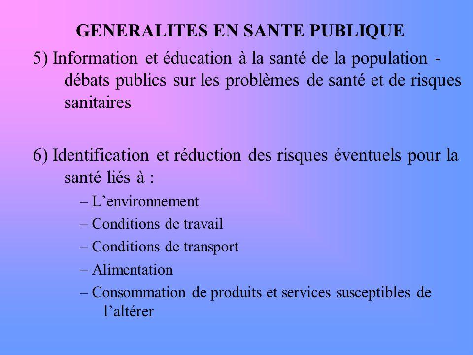 GENERALITES EN SANTE PUBLIQUE 5) Information et éducation à la santé de la population - débats publics sur les problèmes de santé et de risques sanita