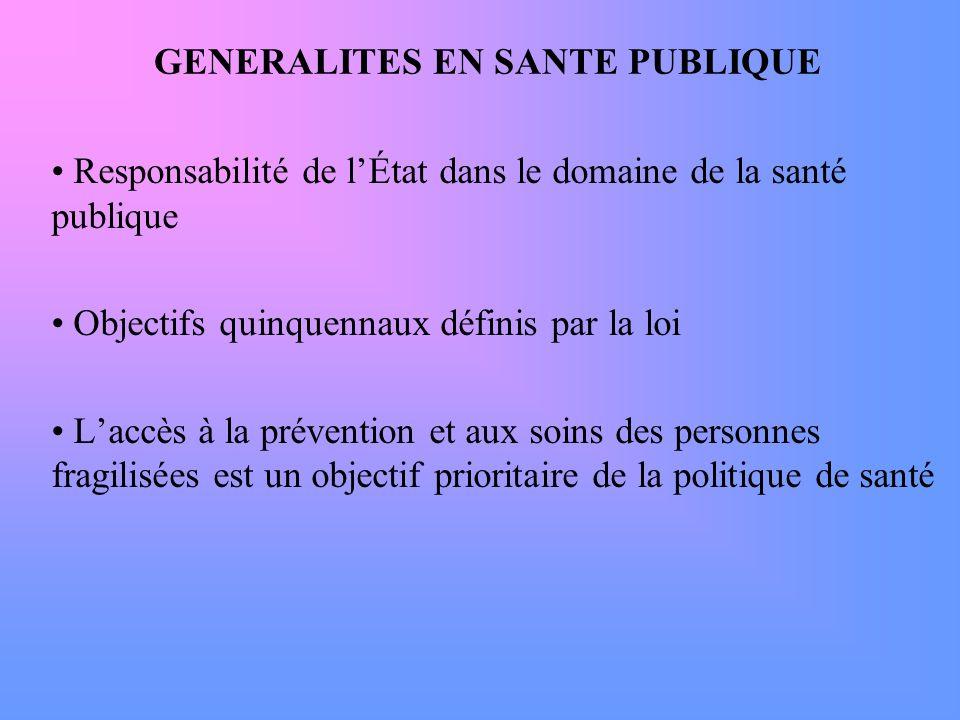 GENERALITES EN SANTE PUBLIQUE Responsabilité de lÉtat dans le domaine de la santé publique Objectifs quinquennaux définis par la loi Laccès à la préve