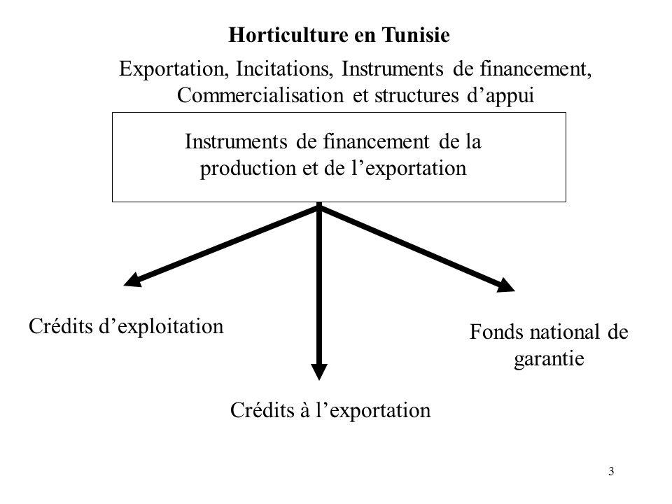 3 Exportation, Incitations, Instruments de financement, Commercialisation et structures dappui Horticulture en Tunisie Instruments de financement de l