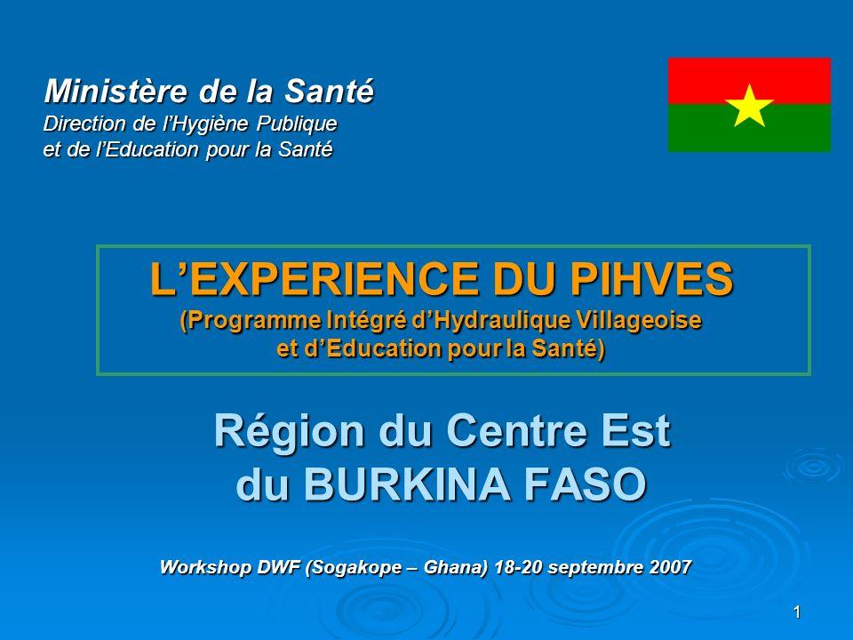 1 LEXPERIENCE DU PIHVES (Programme Intégré dHydraulique Villageoise et dEducation pour la Santé) Région du Centre Est du BURKINA FASO Ministère de la