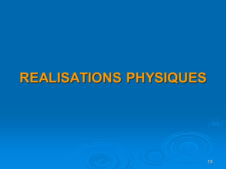 13 REALISATIONS PHYSIQUES