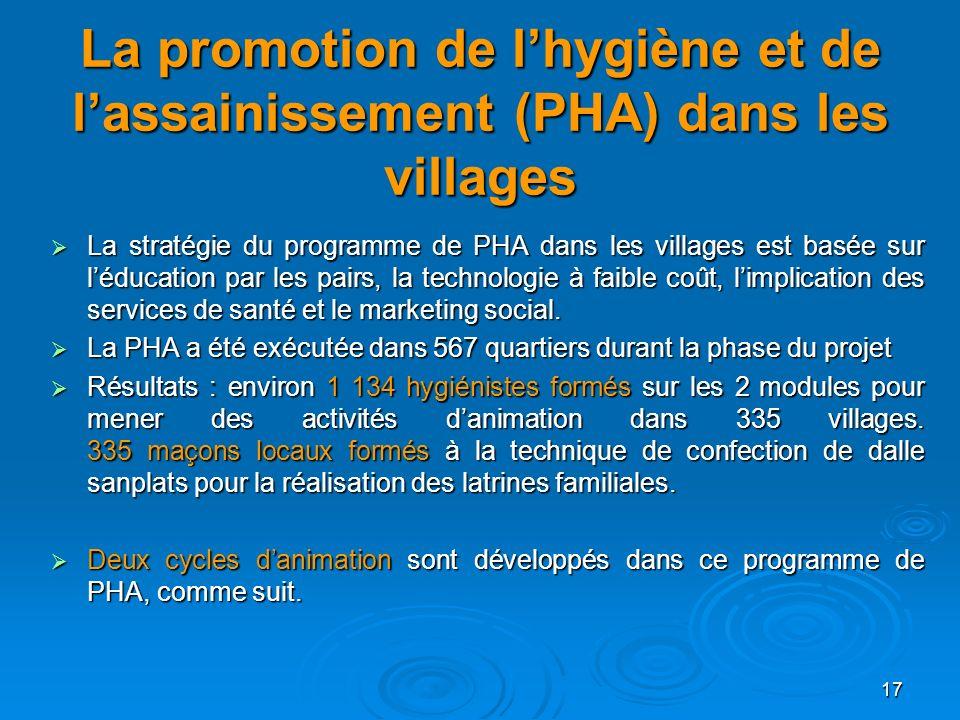 17 La promotion de lhygiène et de lassainissement (PHA) dans les villages La stratégie du programme de PHA dans les villages est basée sur léducation