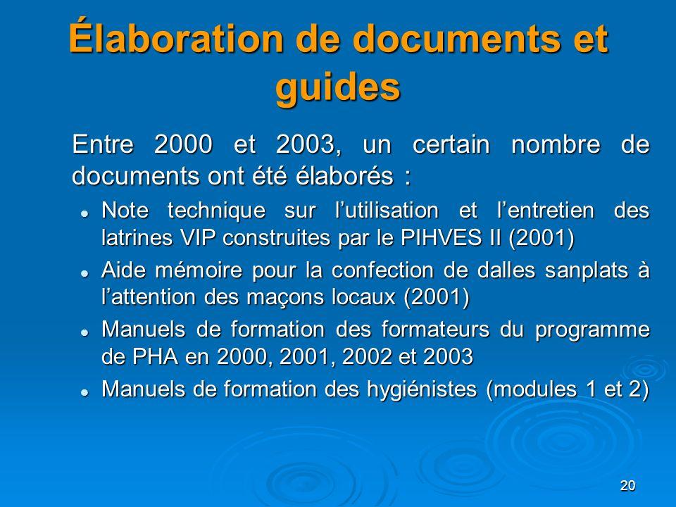20 Élaboration de documents et guides Entre 2000 et 2003, un certain nombre de documents ont été élaborés : Note technique sur lutilisation et lentret