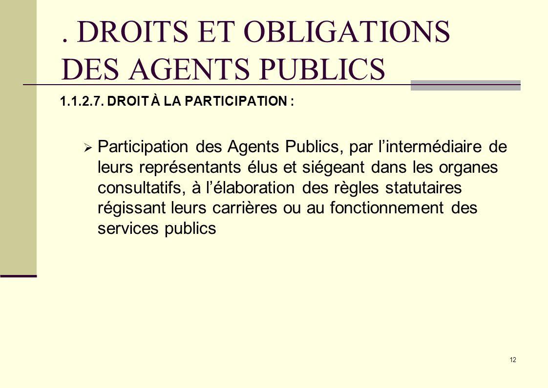12. DROITS ET OBLIGATIONS DES AGENTS PUBLICS 1.1.2.7. DROIT À LA PARTICIPATION : Participation des Agents Publics, par lintermédiaire de leurs représe