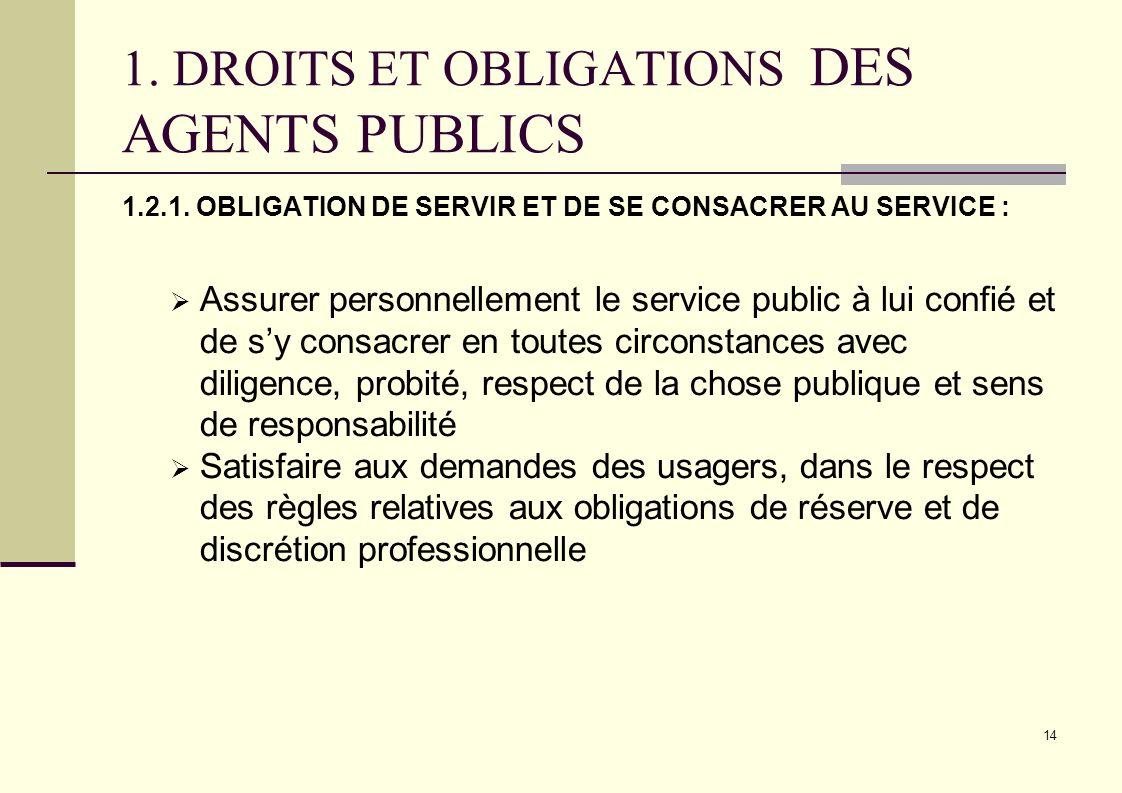 14 1. DROITS ET OBLIGATIONS DES AGENTS PUBLICS 1.2.1. OBLIGATION DE SERVIR ET DE SE CONSACRER AU SERVICE : Assurer personnellement le service public à