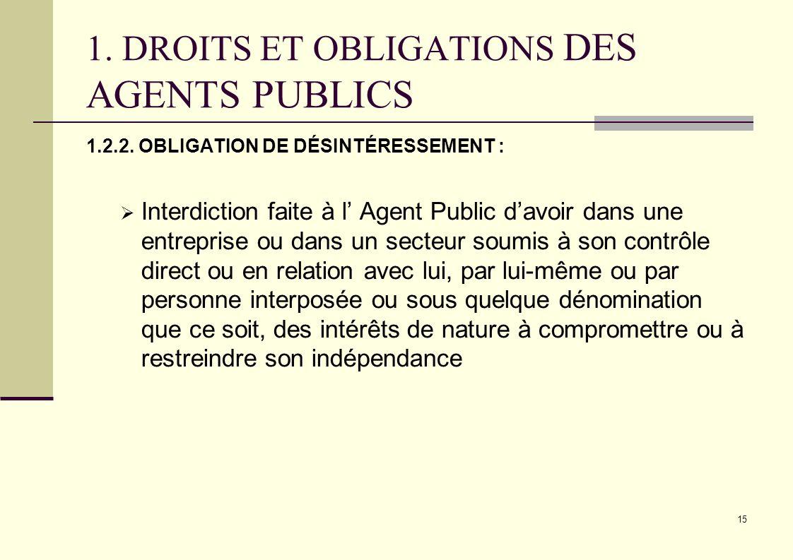 15 1. DROITS ET OBLIGATIONS DES AGENTS PUBLICS 1.2.2. OBLIGATION DE DÉSINTÉRESSEMENT : Interdiction faite à l Agent Public davoir dans une entreprise