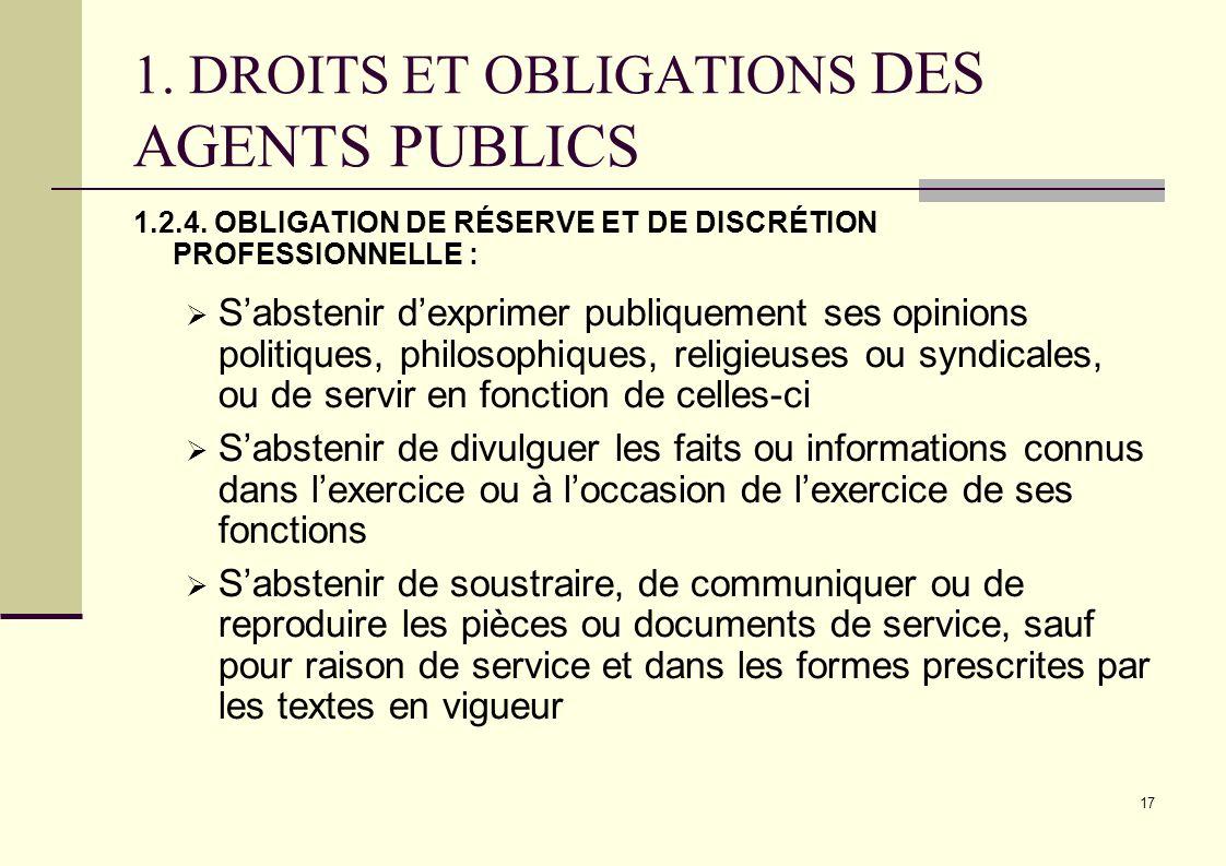 17 1. DROITS ET OBLIGATIONS DES AGENTS PUBLICS 1.2.4. OBLIGATION DE RÉSERVE ET DE DISCRÉTION PROFESSIONNELLE : Sabstenir dexprimer publiquement ses op