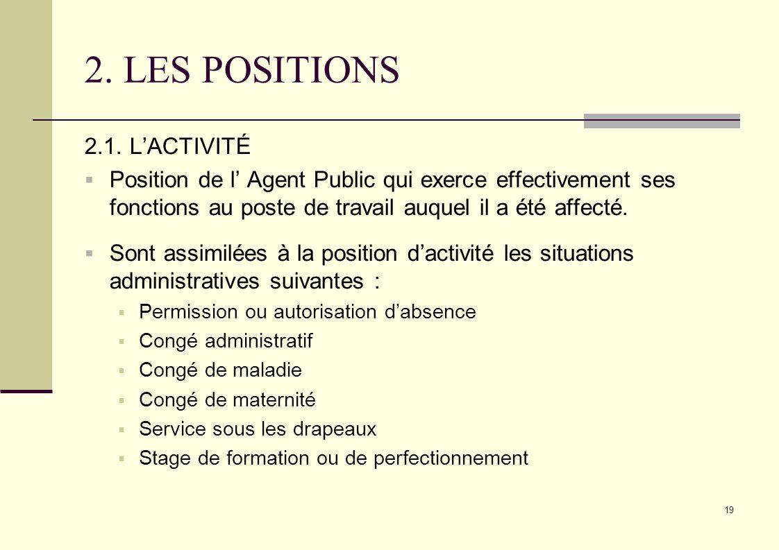 19 2. LES POSITIONS 2.1. LACTIVITÉ Position de l Agent Public qui exerce effectivement ses fonctions au poste de travail auquel il a été affecté. Sont