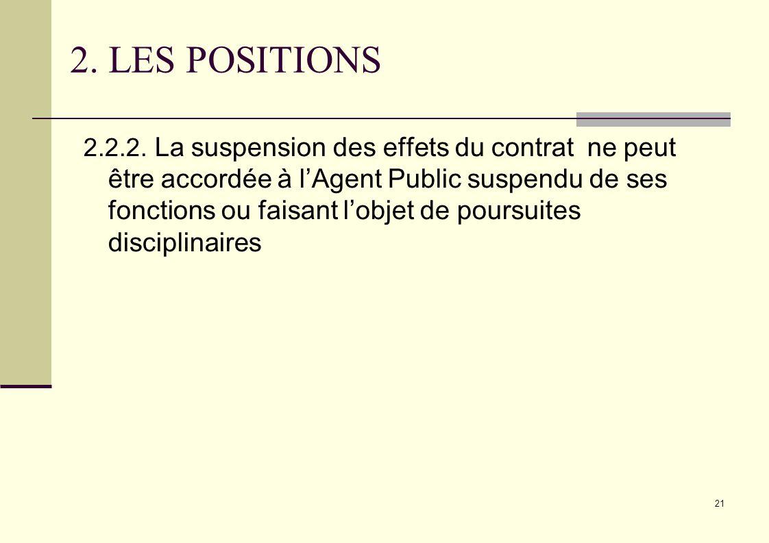 21 2. LES POSITIONS 2.2.2. La suspension des effets du contrat ne peut être accordée à lAgent Public suspendu de ses fonctions ou faisant lobjet de po