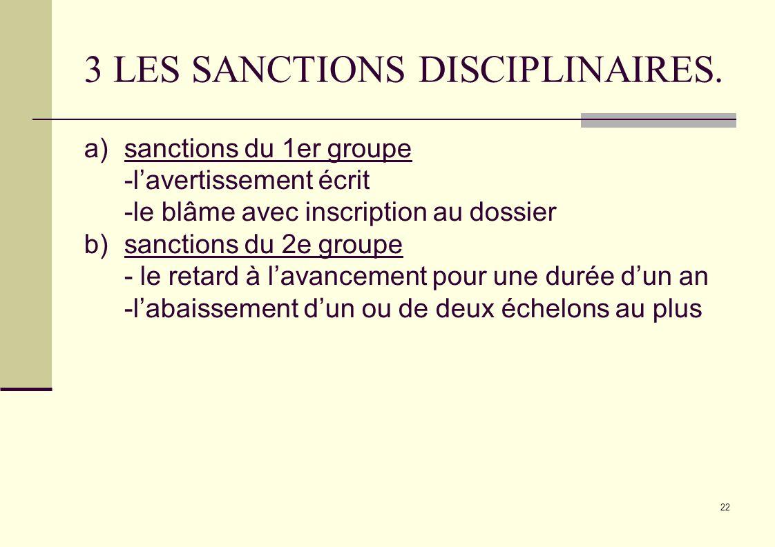 22 3 LES SANCTIONS DISCIPLINAIRES. a)sanctions du 1er groupe -lavertissement écrit -le blâme avec inscription au dossier b)sanctions du 2e groupe - le