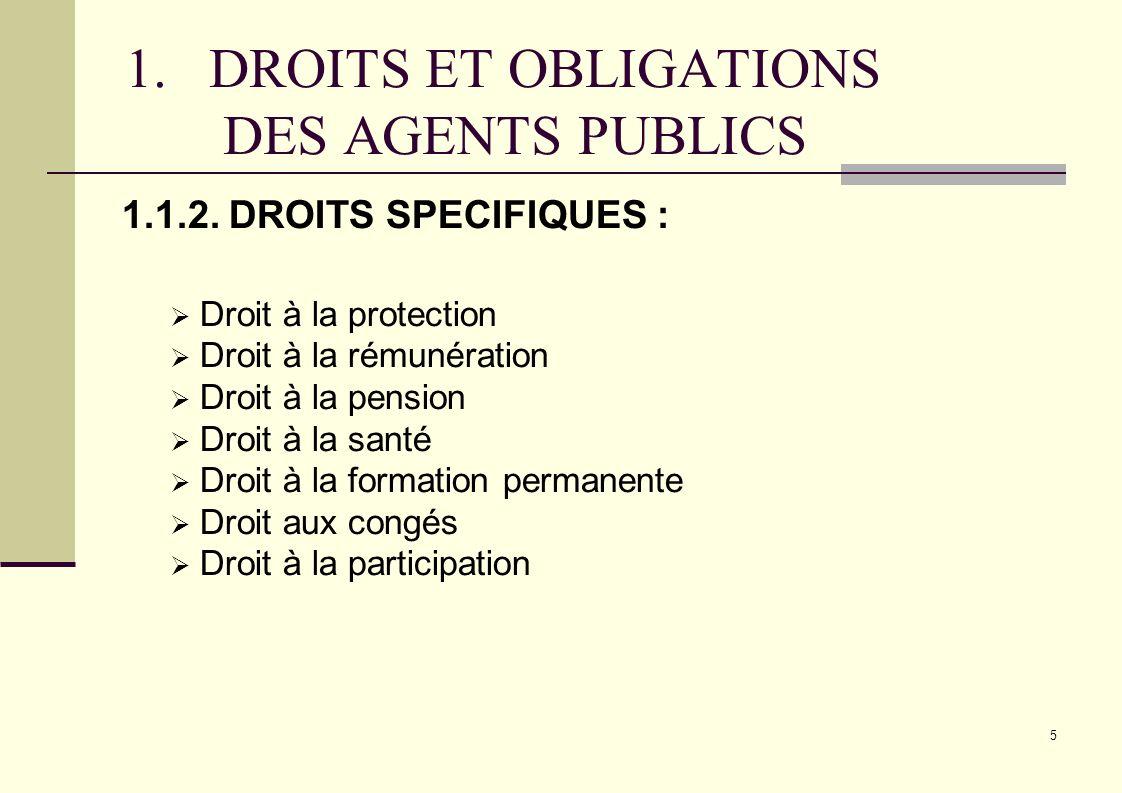 5 1.DROITS ET OBLIGATIONS DES AGENTS PUBLICS 1.1.2. DROITS SPECIFIQUES : Droit à la protection Droit à la rémunération Droit à la pension Droit à la s