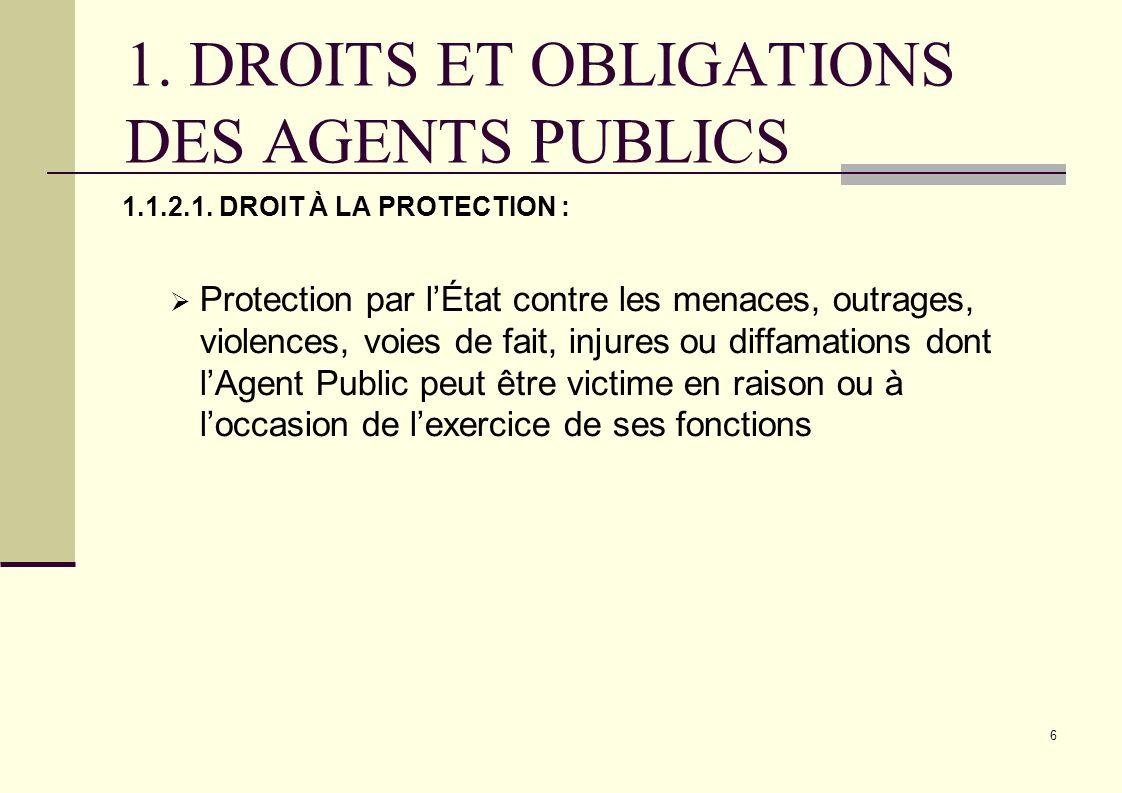6 1. DROITS ET OBLIGATIONS DES AGENTS PUBLICS 1.1.2.1. DROIT À LA PROTECTION : Protection par lÉtat contre les menaces, outrages, violences, voies de