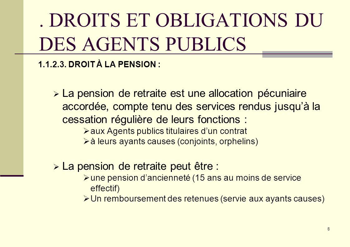 8. DROITS ET OBLIGATIONS DU DES AGENTS PUBLICS 1.1.2.3. DROIT À LA PENSION : La pension de retraite est une allocation pécuniaire accordée, compte ten