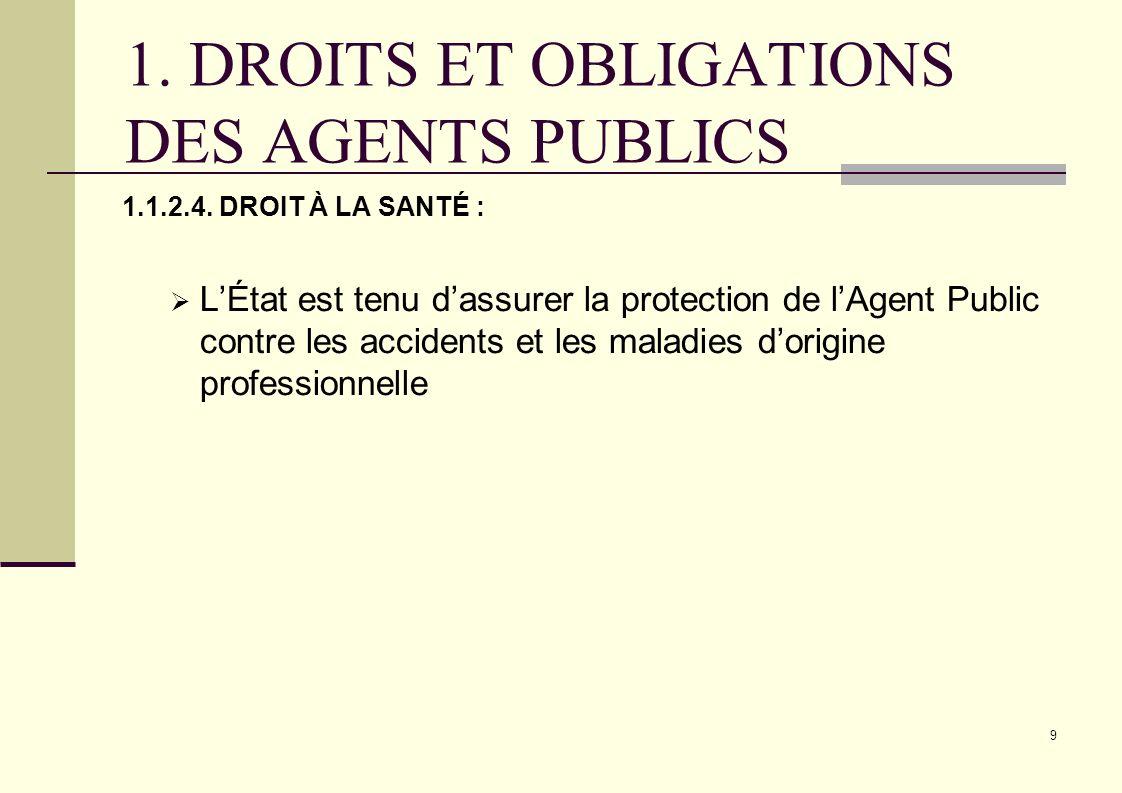 9 1. DROITS ET OBLIGATIONS DES AGENTS PUBLICS 1.1.2.4. DROIT À LA SANTÉ : LÉtat est tenu dassurer la protection de lAgent Public contre les accidents