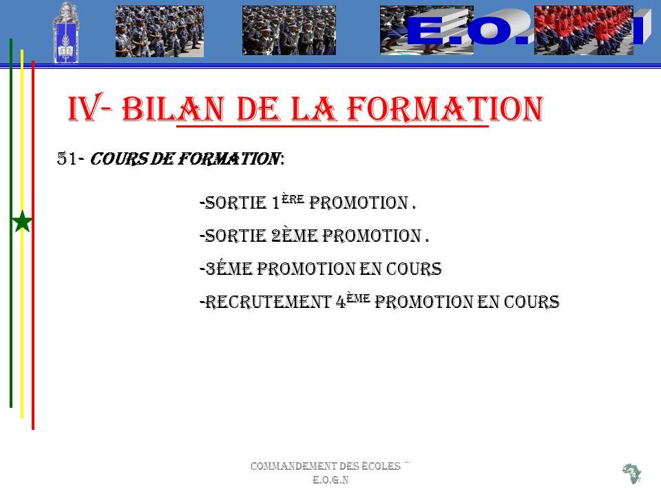 Commandement des Écoles ~ E.O.G.N iV- BILAN DE LA FORMATION 51- Cours de Formation : -Sortie 1 ère Promotion.