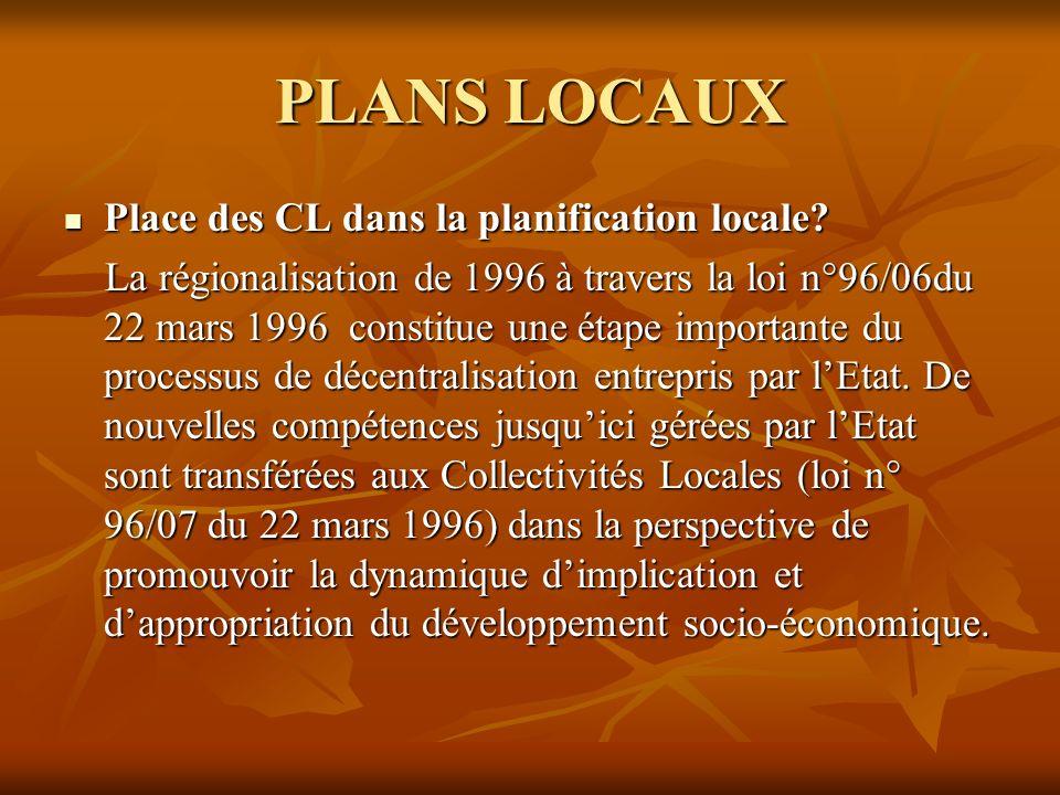 PLANS LOCAUX Place des CL dans la planification locale.