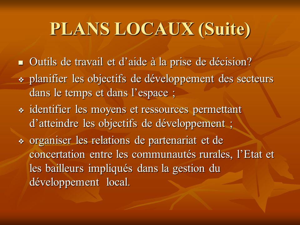 PLANS LOCAUX (Suite) Outils de travail et daide à la prise de décision.
