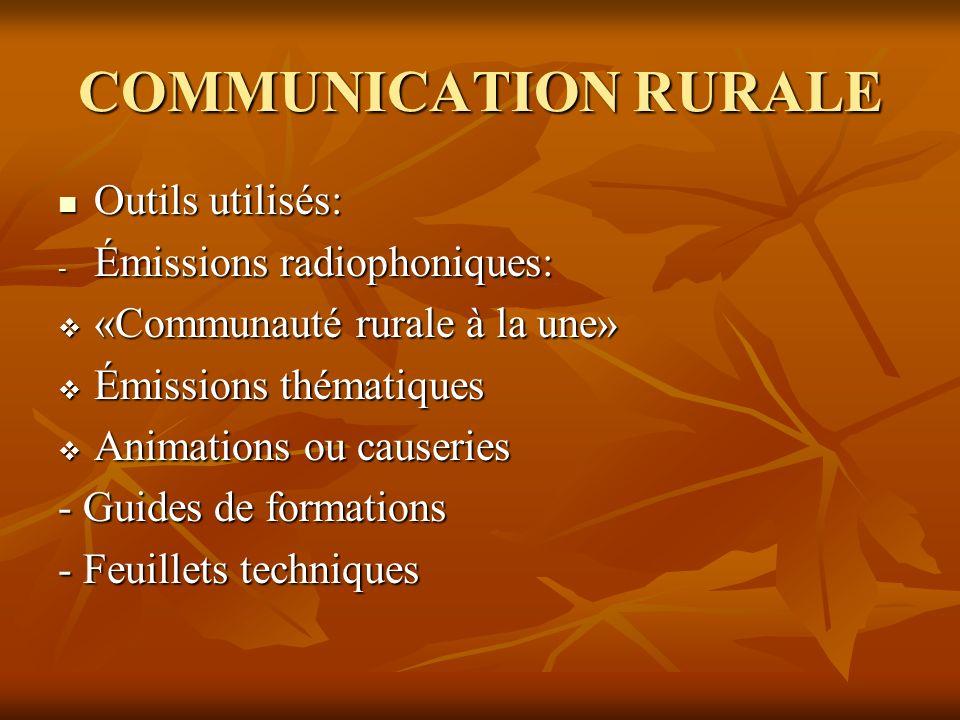 COMMUNICATION RURALE Outils utilisés: Outils utilisés: - Émissions radiophoniques: «Communauté rurale à la une» «Communauté rurale à la une» Émissions thématiques Émissions thématiques Animations ou causeries Animations ou causeries - Guides de formations - Feuillets techniques