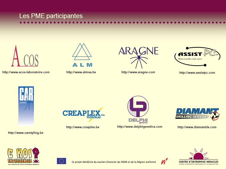 Les PME participantes http://www.acos-laboratoire.com http://www.almsa.be http://www.aragne.com http://www.assistpc.com http://www.carstyling.be http://www.creaplex.be http://www.delphigenetics.com http://www.diamantds.com