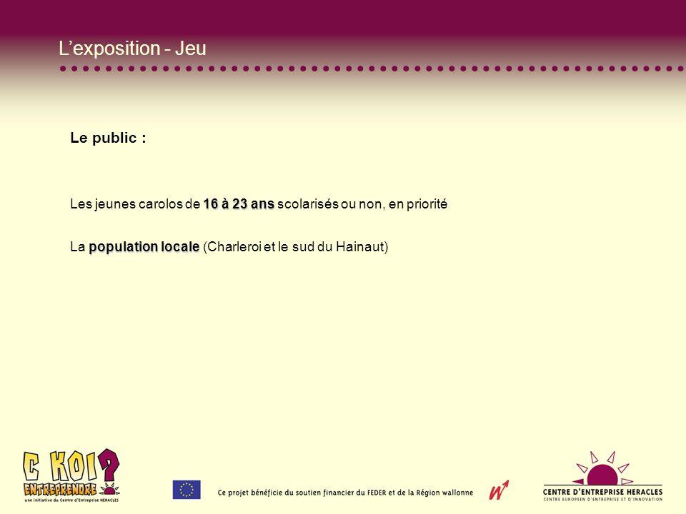 Lexposition - Jeu Le public : 16 à 23 ans Les jeunes carolos de 16 à 23 ans scolarisés ou non, en priorité population locale La population locale (Charleroi et le sud du Hainaut)