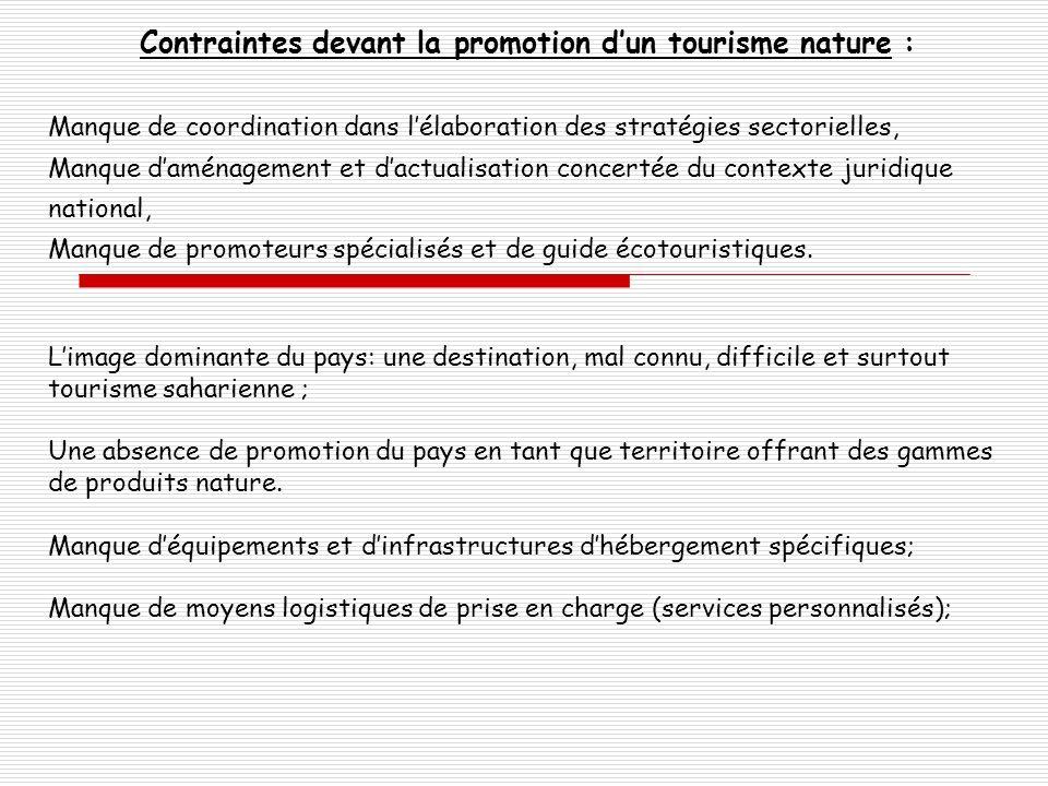 Contraintes devant la promotion dun tourisme nature : Manque de coordination dans lélaboration des stratégies sectorielles, Manque daménagement et dac