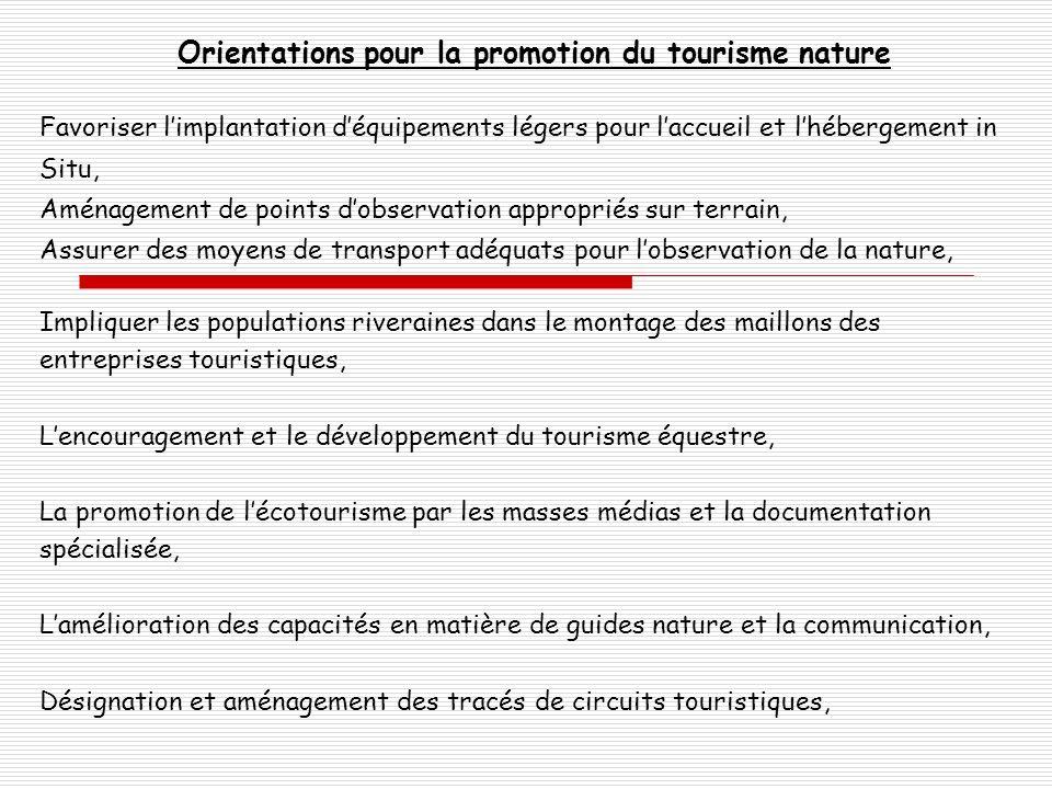 Orientations pour la promotion du tourisme nature Favoriser limplantation déquipements légers pour laccueil et lhébergement in Situ, Aménagement de po