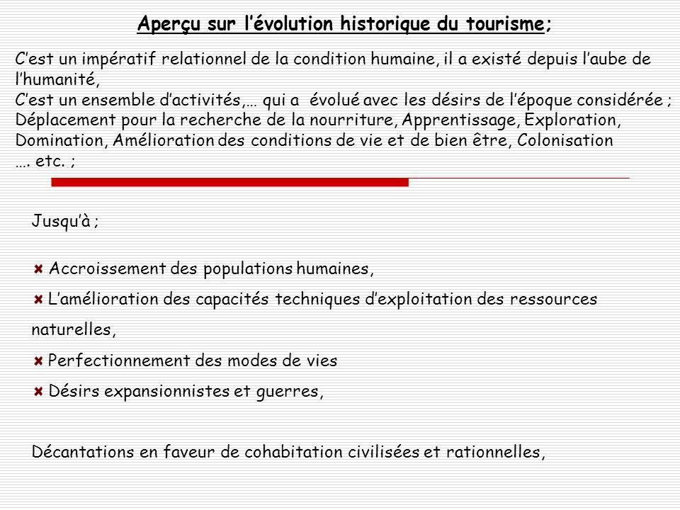 Aperçu sur lévolution historique du tourisme; Cest un impératif relationnel de la condition humaine, il a existé depuis laube de lhumanité, Cest un en