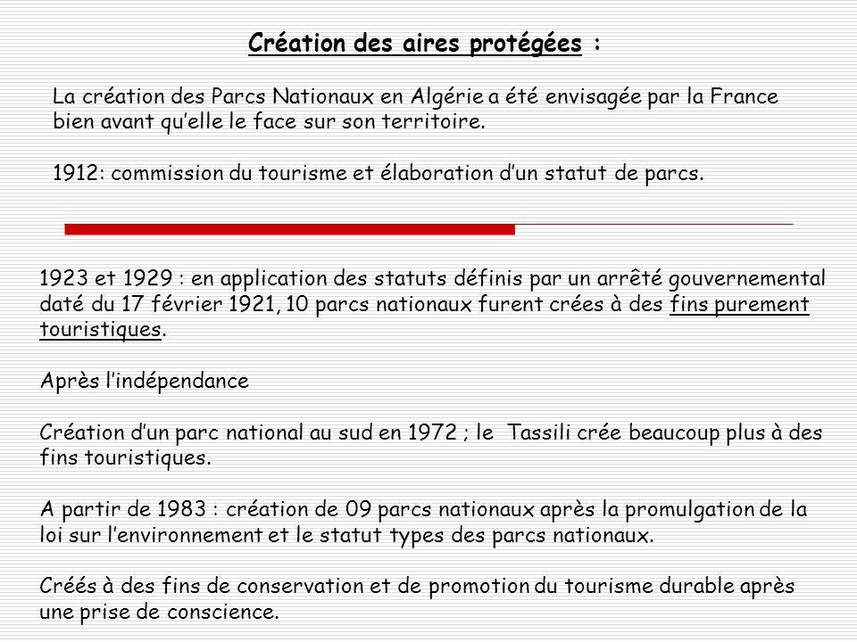 Création des aires protégées : La création des Parcs Nationaux en Algérie a été envisagée par la France bien avant quelle le face sur son territoire.