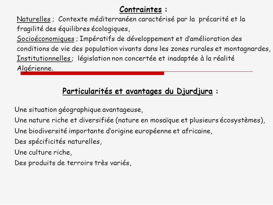 Contraintes : Naturelles ; Contexte méditerranéen caractérisé par la précarité et la fragilité des équilibres écologiques, Socioéconomiques ; Impérati