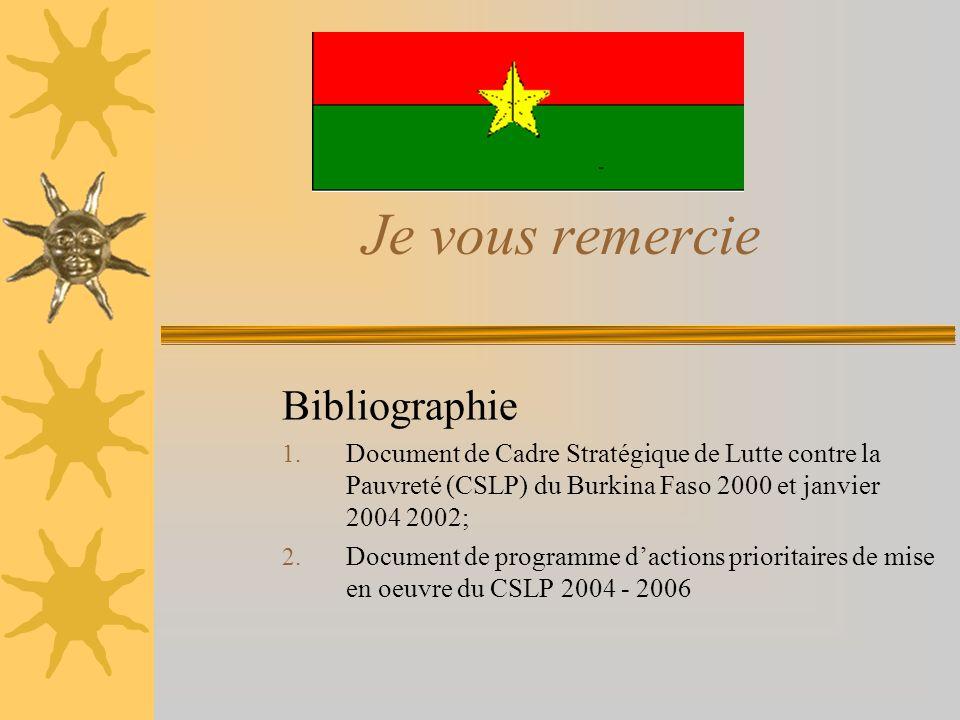 Je vous remercie Bibliographie 1. Document de Cadre Stratégique de Lutte contre la Pauvreté (CSLP) du Burkina Faso 2000 et janvier 2004 2002; 2. Docum