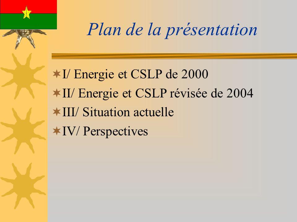 Plan de la présentation I/ Energie et CSLP de 2000 II/ Energie et CSLP révisée de 2004 III/ Situation actuelle IV/ Perspectives