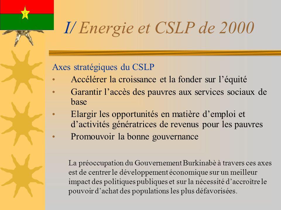 I/ Energie et CSLP de 2000 Axes stratégiques du CSLP Accélérer la croissance et la fonder sur léquité Garantir laccès des pauvres aux services sociaux de base Elargir les opportunités en matière demploi et dactivités génératrices de revenus pour les pauvres Promouvoir la bonne gouvernance La préoccupation du Gouvernement Burkinabè à travers ces axes est de centrer le développement économique sur un meilleur impact des politiques publiques et sur la nécessité daccroître le pouvoir dachat des populations les plus défavorisées.