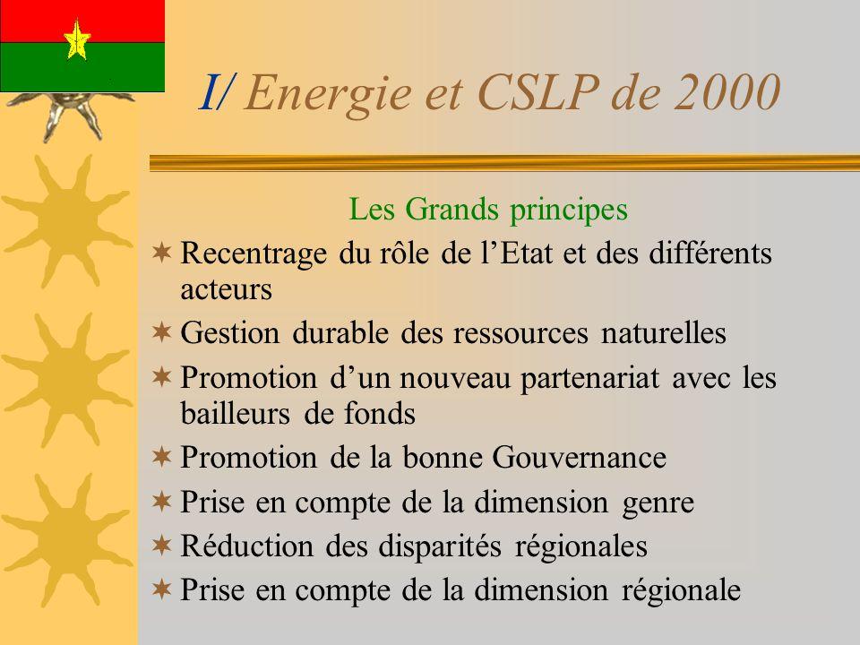 I/ Energie et CSLP de 2000 Les Grands principes Recentrage du rôle de lEtat et des différents acteurs Gestion durable des ressources naturelles Promotion dun nouveau partenariat avec les bailleurs de fonds Promotion de la bonne Gouvernance Prise en compte de la dimension genre Réduction des disparités régionales Prise en compte de la dimension régionale