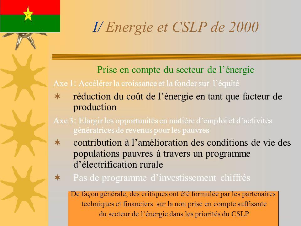 I/ Energie et CSLP de 2000 Prise en compte du secteur de lénergie Axe 1 : Accélérer la croissance et la fonder sur léquité réduction du coût de lénerg