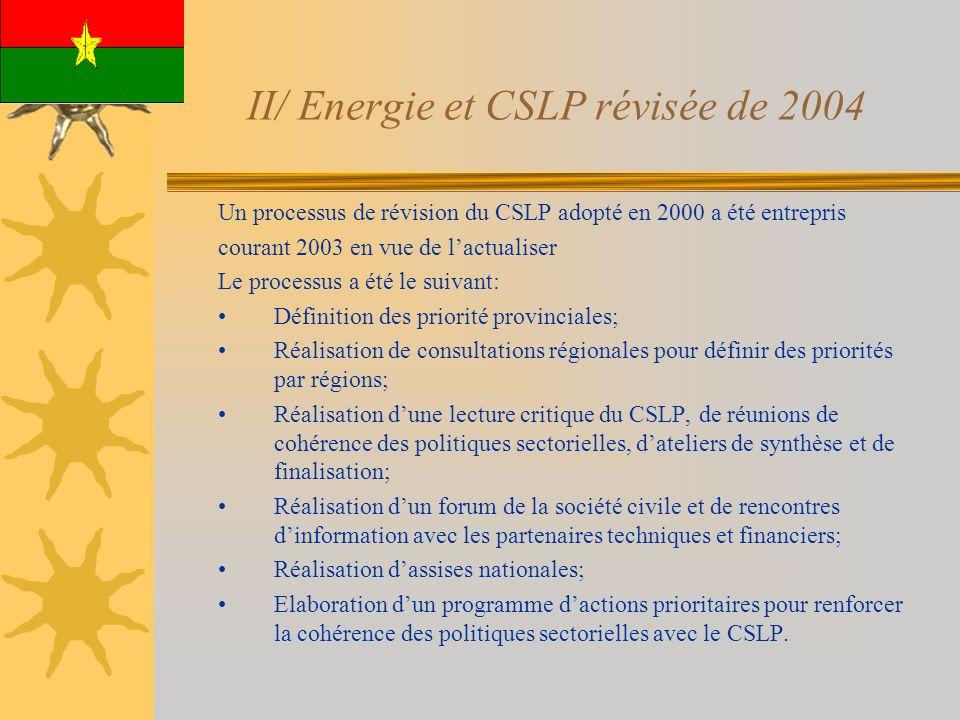 II/ Energie et CSLP révisée de 2004 Un processus de révision du CSLP adopté en 2000 a été entrepris courant 2003 en vue de lactualiser Le processus a