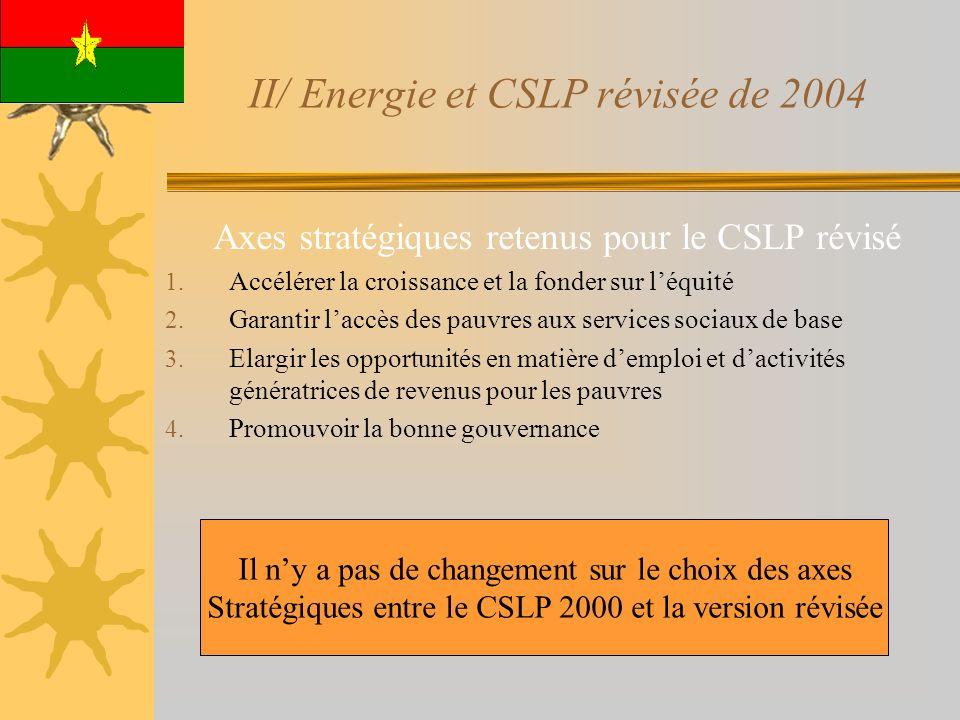 II/ Energie et CSLP révisée de 2004 Axes stratégiques retenus pour le CSLP révisé 1. Accélérer la croissance et la fonder sur léquité 2. Garantir lacc