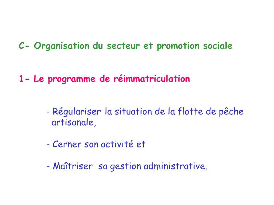 C- Organisation du secteur et promotion sociale 1- Le programme de réimmatriculation - Régulariser la situation de la flotte de pêche artisanale, - Cerner son activité et - Maîtriser sa gestion administrative.