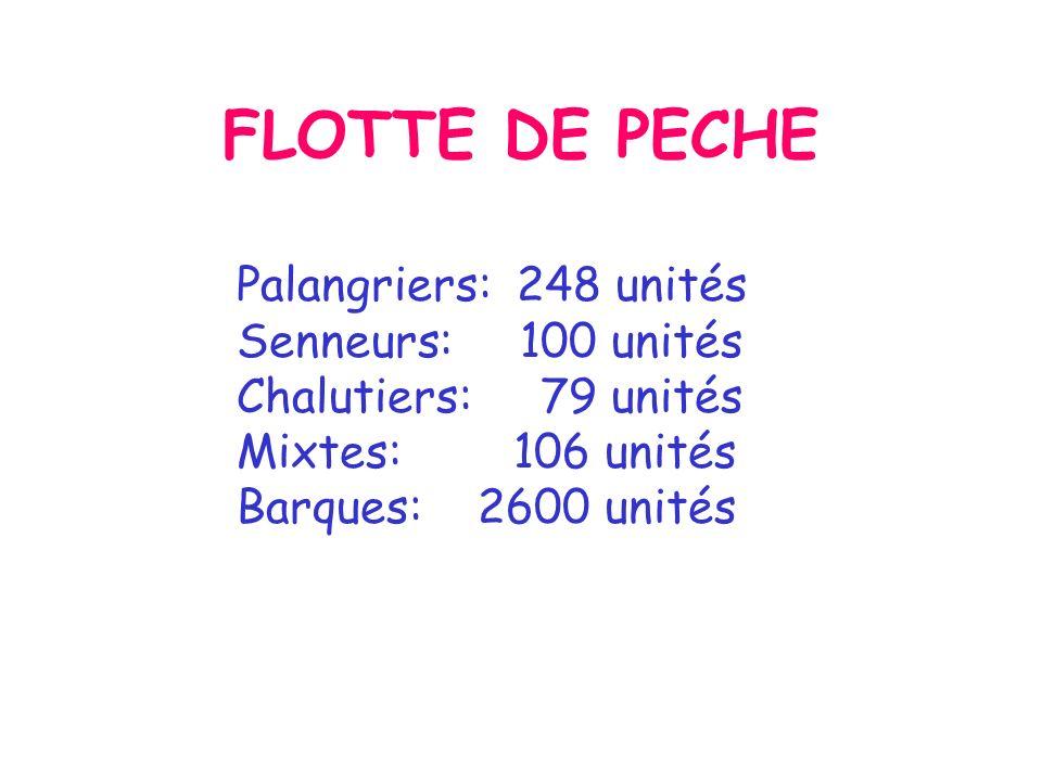 FLOTTE DE PECHE Palangriers: 248 unités Senneurs: 100 unités Chalutiers: 79 unités Mixtes: 106 unités Barques: 2600 unités