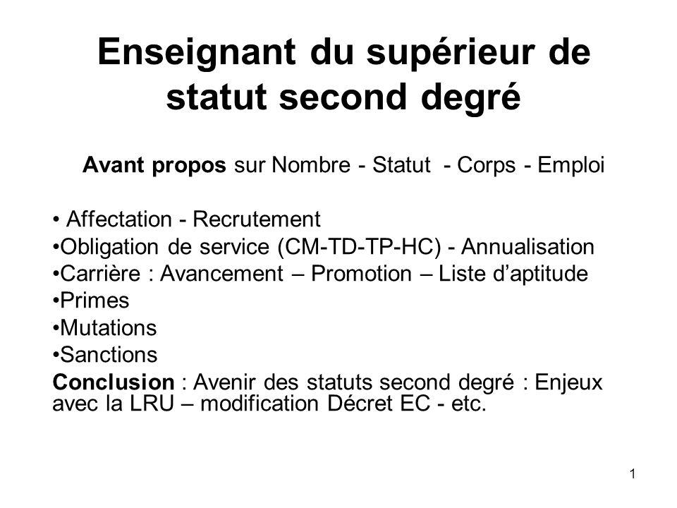 1 Enseignant du supérieur de statut second degré Avant propos sur Nombre - Statut - Corps - Emploi Affectation - Recrutement Obligation de service (CM