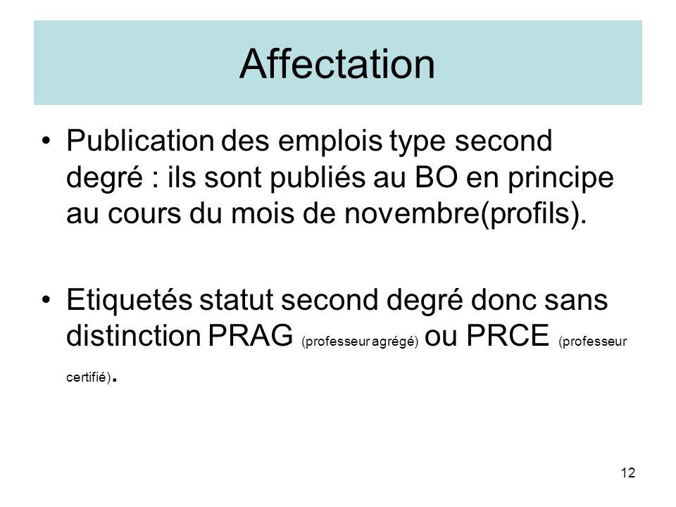 12 Affectation Publication des emplois type second degré : ils sont publiés au BO en principe au cours du mois de novembre(profils). Etiquetés statut