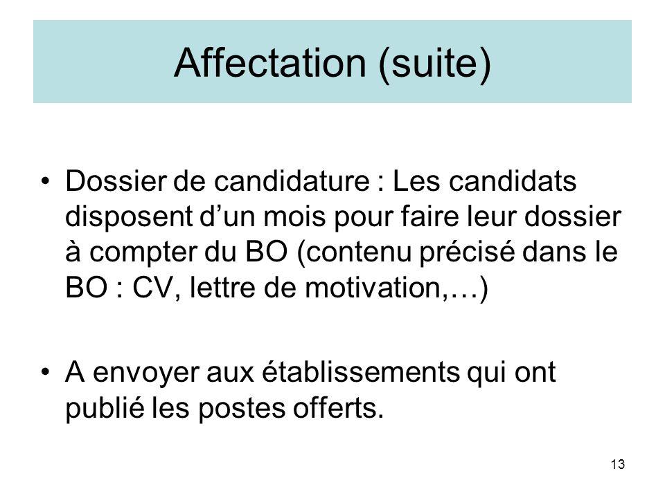 13 Affectation (suite) Dossier de candidature : Les candidats disposent dun mois pour faire leur dossier à compter du BO (contenu précisé dans le BO :