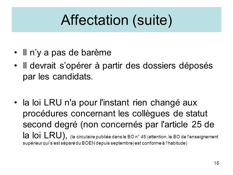 15 Affectation (suite) Il ny a pas de barème Il devrait sopérer à partir des dossiers déposés par les candidats. la loi LRU n'a pour l'instant rien ch